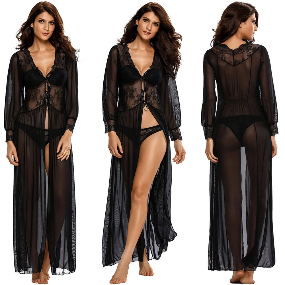 2d7970fbb1d Sexy Women Sheer Long Lace Robe Lingerie Gown Floral Scalloped V Neck Mesh  Underwear Nightwear Sleepwear Black