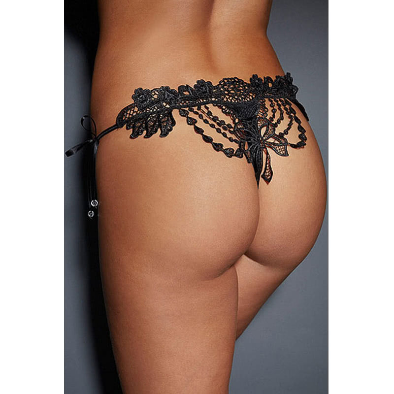 57e1681ebc36 Sexy Women Crochet Lace Lingerie G-String Low Waist Self-Tie Strap Beaded Thong  Underwear Black/Red/White black l Online Shopping | Tomtop