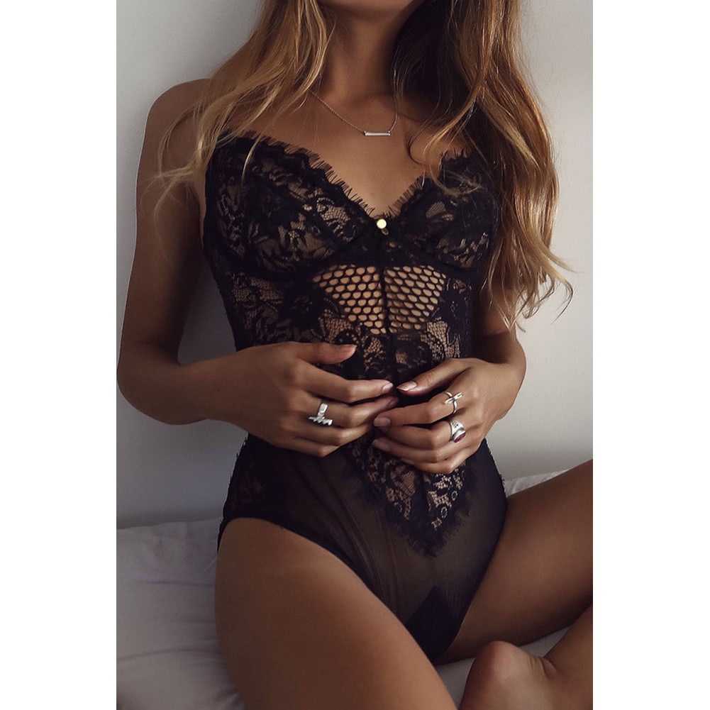 Sexy Women Lingerie Jumpsuit Sheer Lace Mesh Bra Thongs Erotic Sleepwear Rompers Underwear Black/White