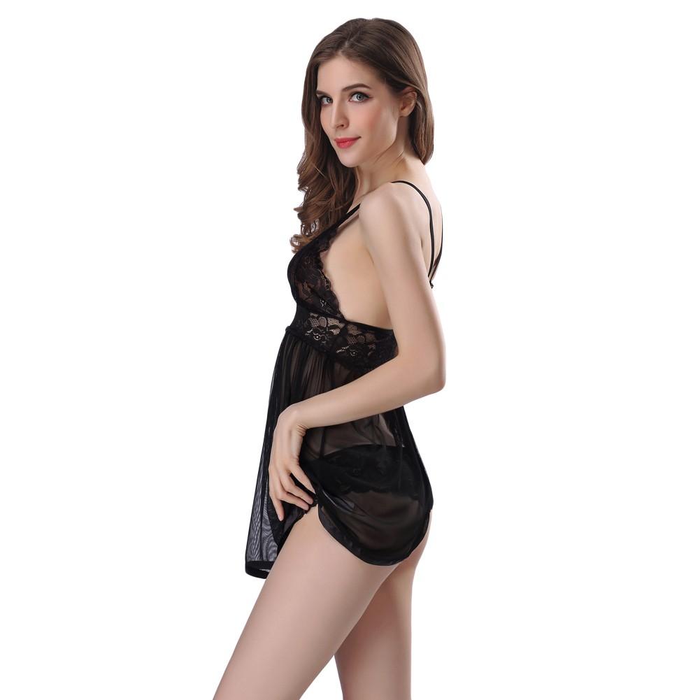 2e0fa4bb07 Sexy Women Lingerie Babydoll Lace Dress Set Sleepwear Underwear Transparent  Nightwear Panties Set