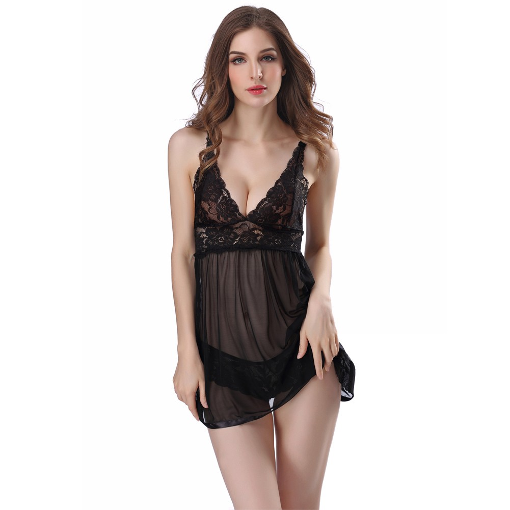 635ddecde3 Sexy Women Lingerie Babydoll Lace Dress Set Sleepwear Underwear Transparent  Nightwear Panties Set