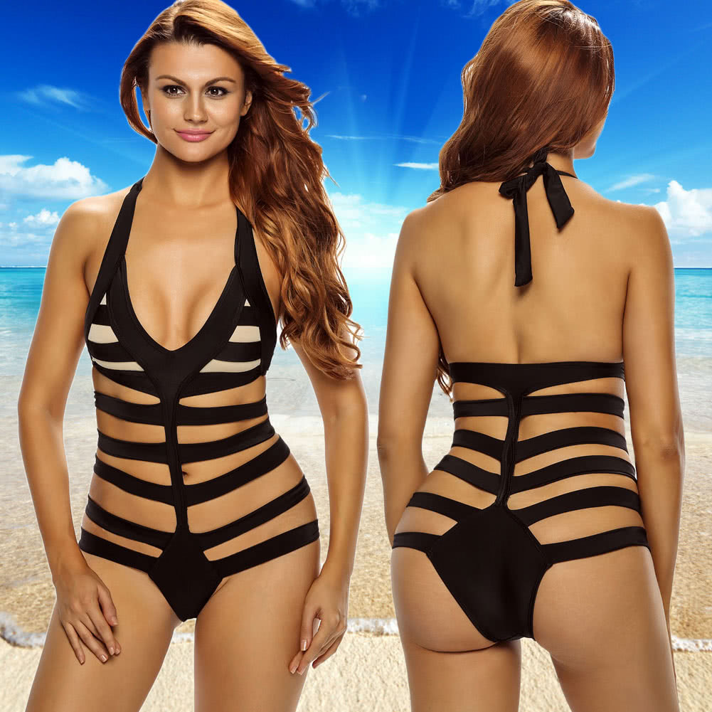 58f9827aec Hot Sexy Women Halter One-Piece Swimsuits Stripe Cutout Backless Thong  Bottom Beach Bikini Bathing. Mouse over to zoom in
