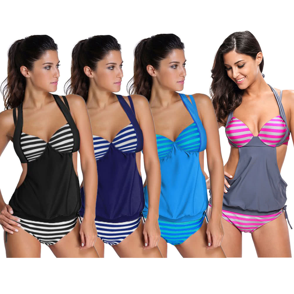 4c0b0324de New Women Tankini 2PCS Set Striped Halter Neck Hollow Out Side Tie Briefs  Summer Swimsuit