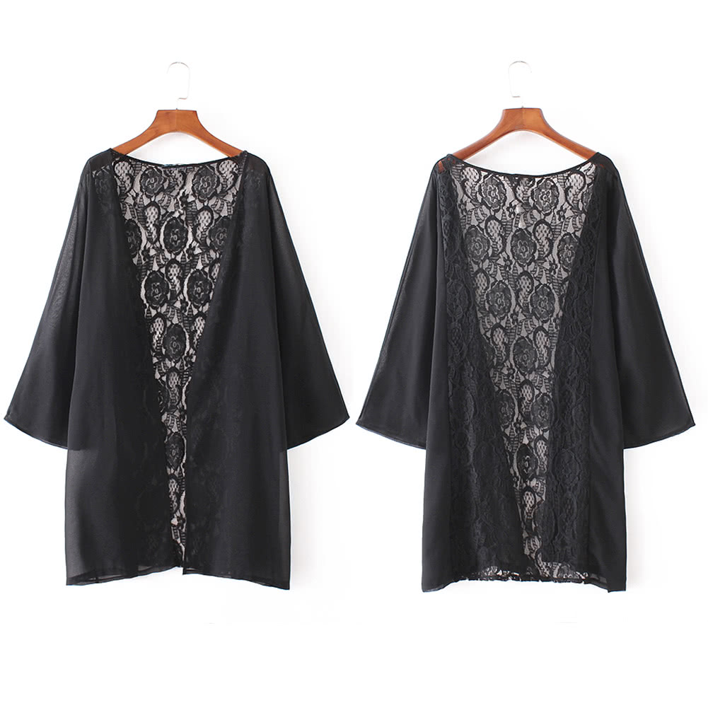 Cheap New Women Kimono Cardigan Beach Cover Up Sheer Lace Chiffon ...