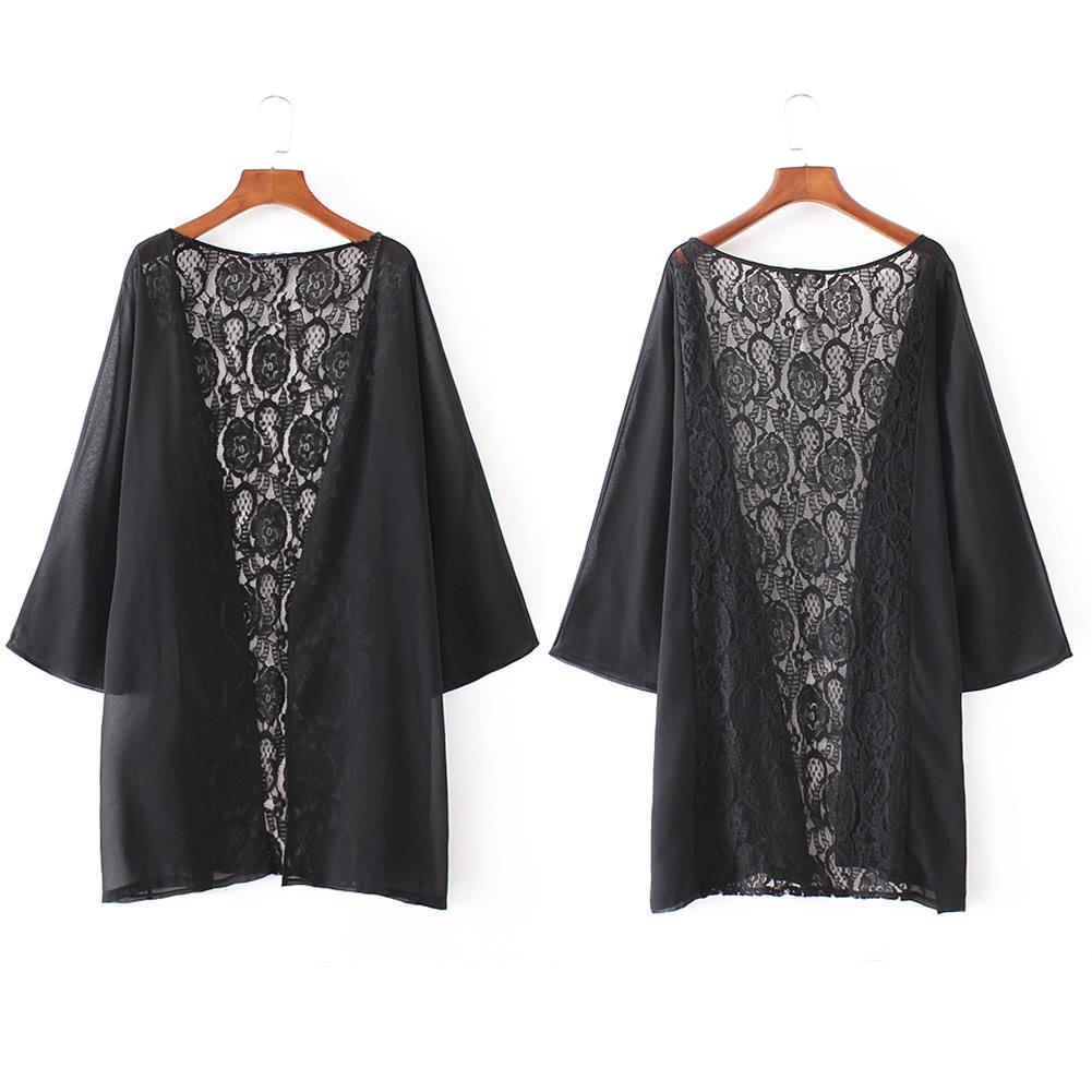 Cheap New Women Kimono Cardigan Beach Cover Up Sheer Lace Chiffon ...