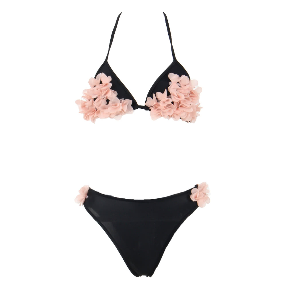 217427dc54 Sexy Women Bikini Set Floral Petals Halter Bandage Push-Up Skimpy Swimwear  Two-Piece Beach Swimsuit black xl Online Shopping | Tomtop