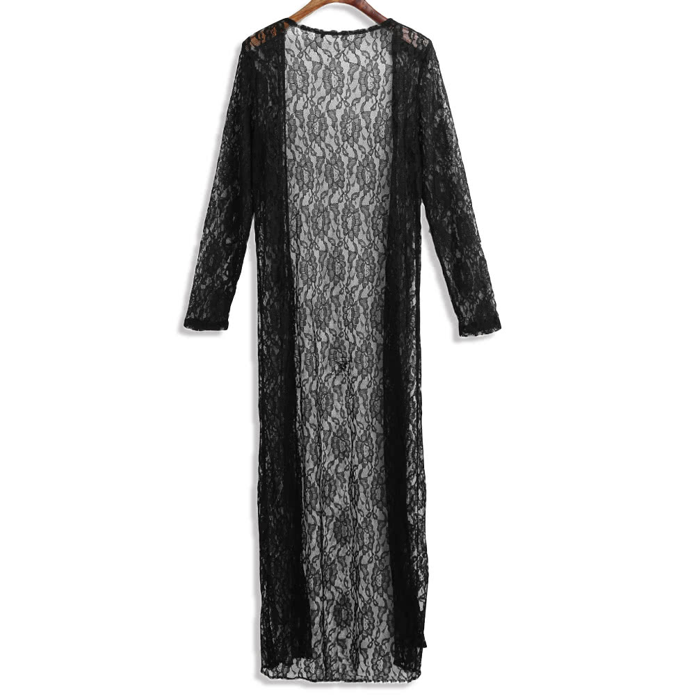 661a2c360a9e2 Women Floral Lace Kimono Semi Sheer Plus Size Solid Open Front Long Elegant  Beach Cover Up Cardigan black 3xl Online Shopping