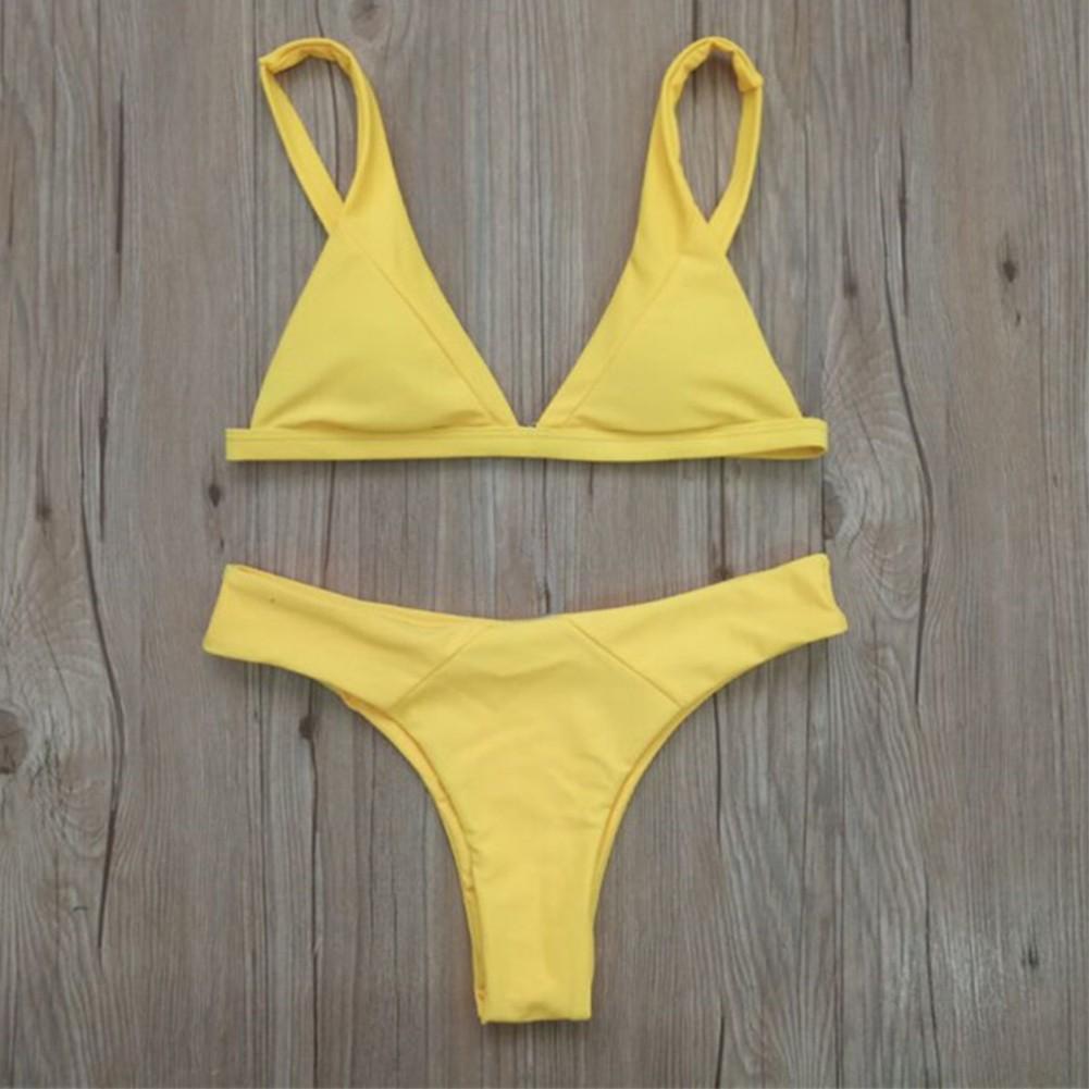 e76df1ed1e4f Bikini para mujer Set Triángulo sólido Copas Leopardo sólido acolchado Push  Up Baja cintura Sexy Dos piezas traje de baño s amarillo - Tomtop.com