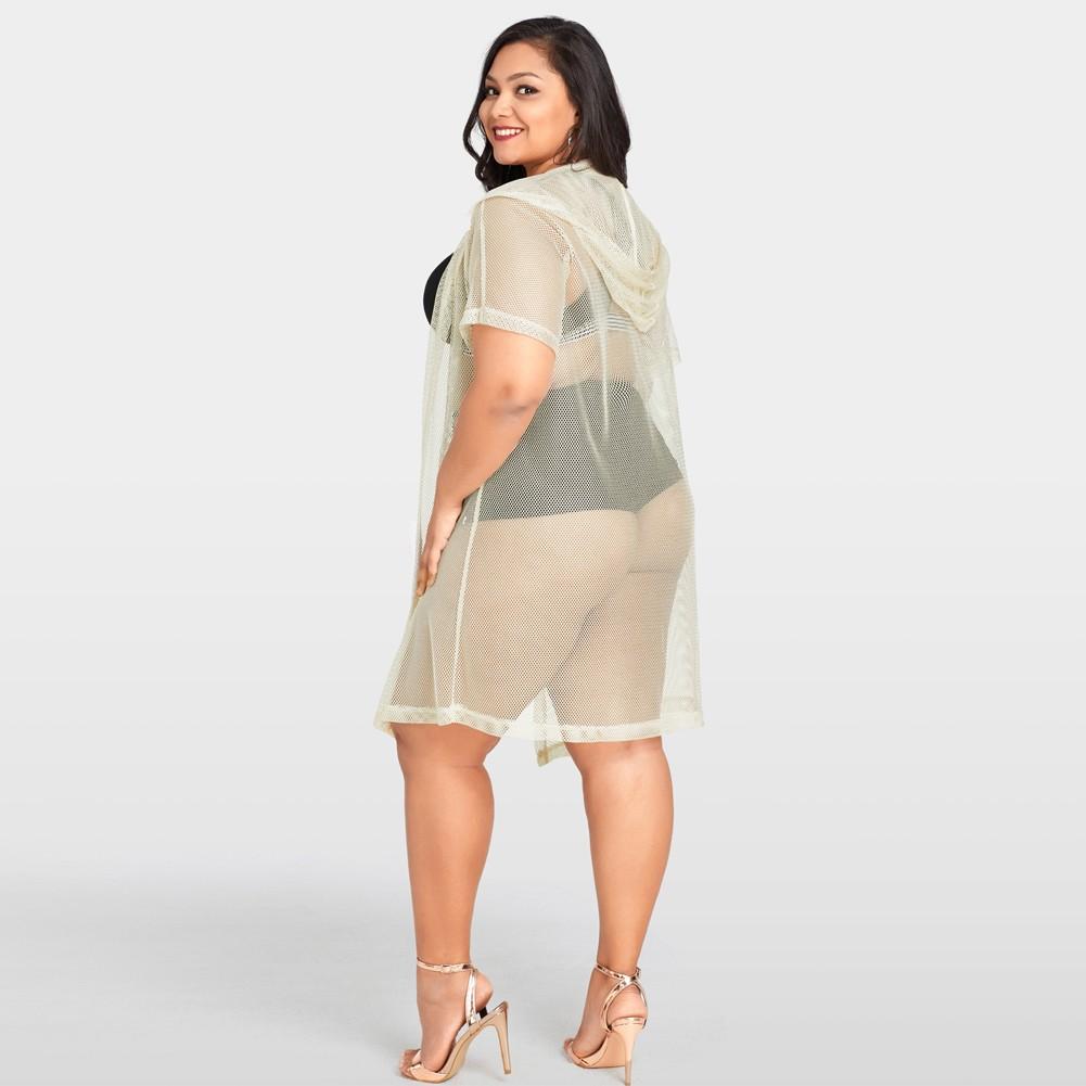 9cf161d78423e Mulheres Sexy Bikini Cover Up Fishnet Oco Out Com Capuz Cardigan Plus Size  Outerwear Beachwear Bege bege xxl - Tomtop.com