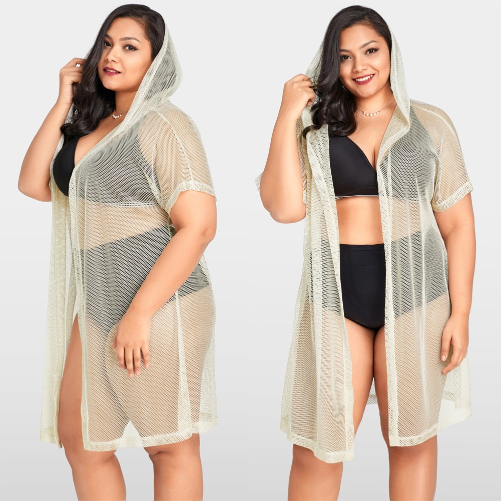 0034d632d12e8 Mulheres Sexy Bikini Cover Up Fishnet Oco Out Com Capuz Cardigan Plus Size  Outerwear Beachwear Bege