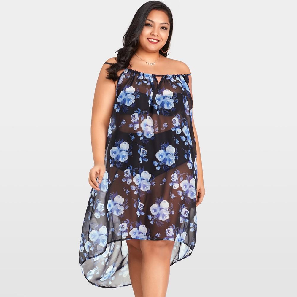 633611d9f6646 Mulheres Sexy Sheer Chiffon Floral Bikini Cover Up Transparente Sem Mangas  Assimétrica Beachwear Mini Vestido Azul Escuro