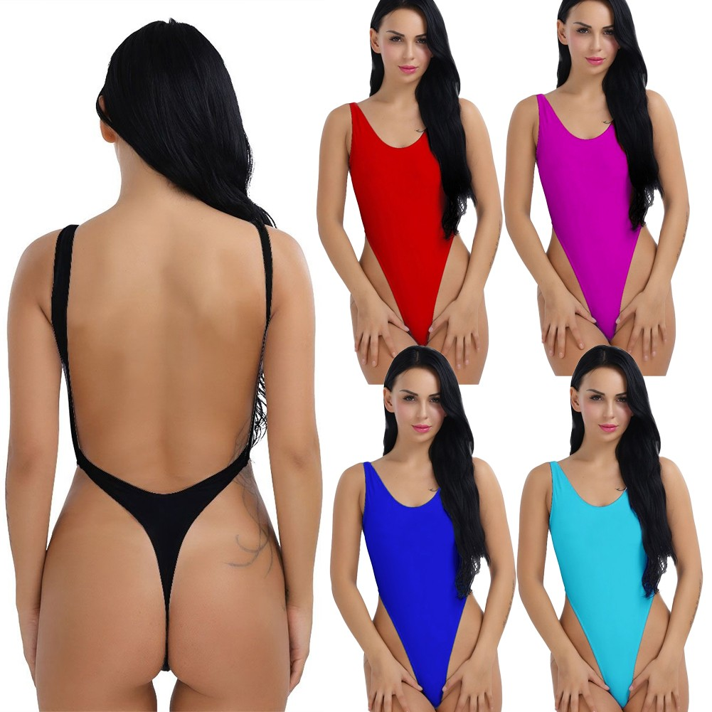 bc2f66b6aab Sexy Women One-Piece Push Up Bikini Swimwear Monokini High Cut Backless  Leotard Thong Bodysuit