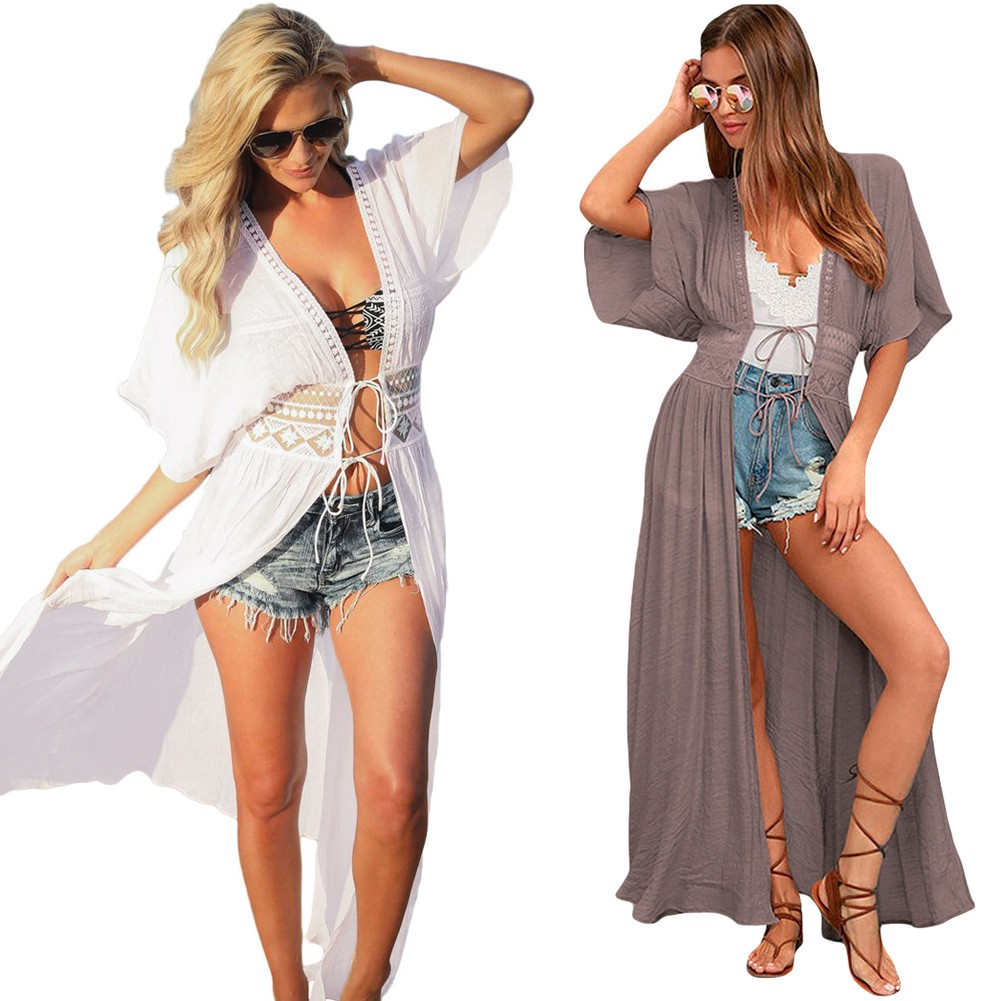16e43a02fa72 Sexy Women Beach Cover Up Lace Hollow Out Bandage Maxi Cardigan Tunic Bikini  Swimsuit Coverups White Khaki