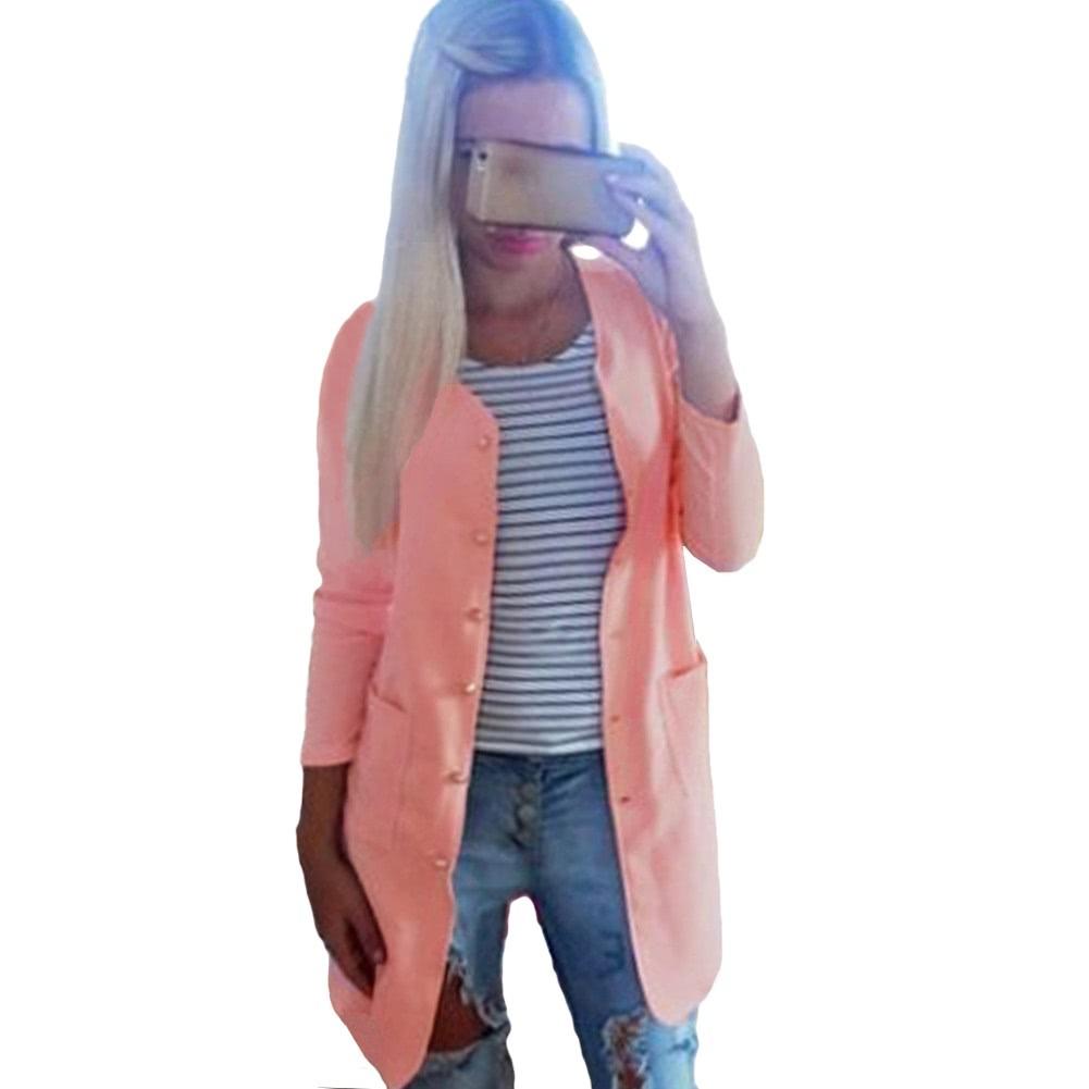 d69b2e1e14c Купить Новые женщины слой однобортный карманы длинные конфеты цветные  пальто пиджак пиджак верхняя одежда m розовый в интернет магазине Tomtop