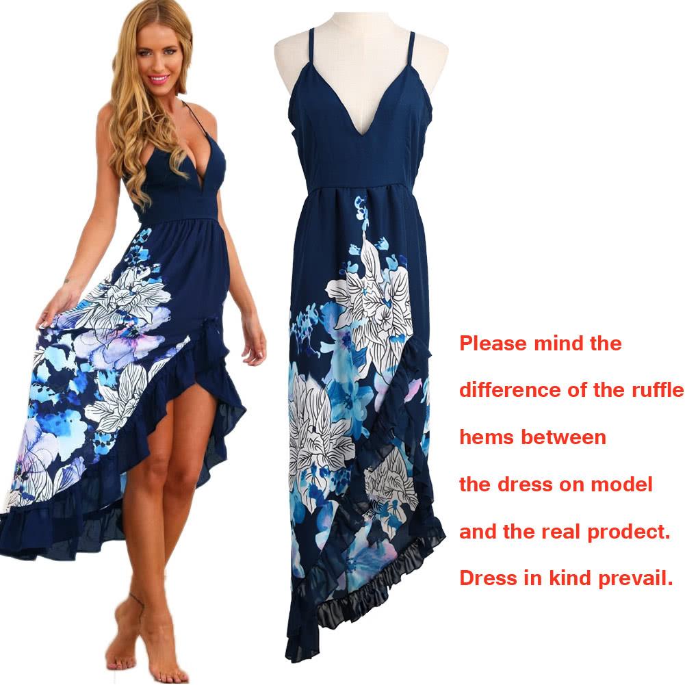 femmes robe volant asym 233 trique imprim 233 floral hem plong 233 e col v plage sans manches robe