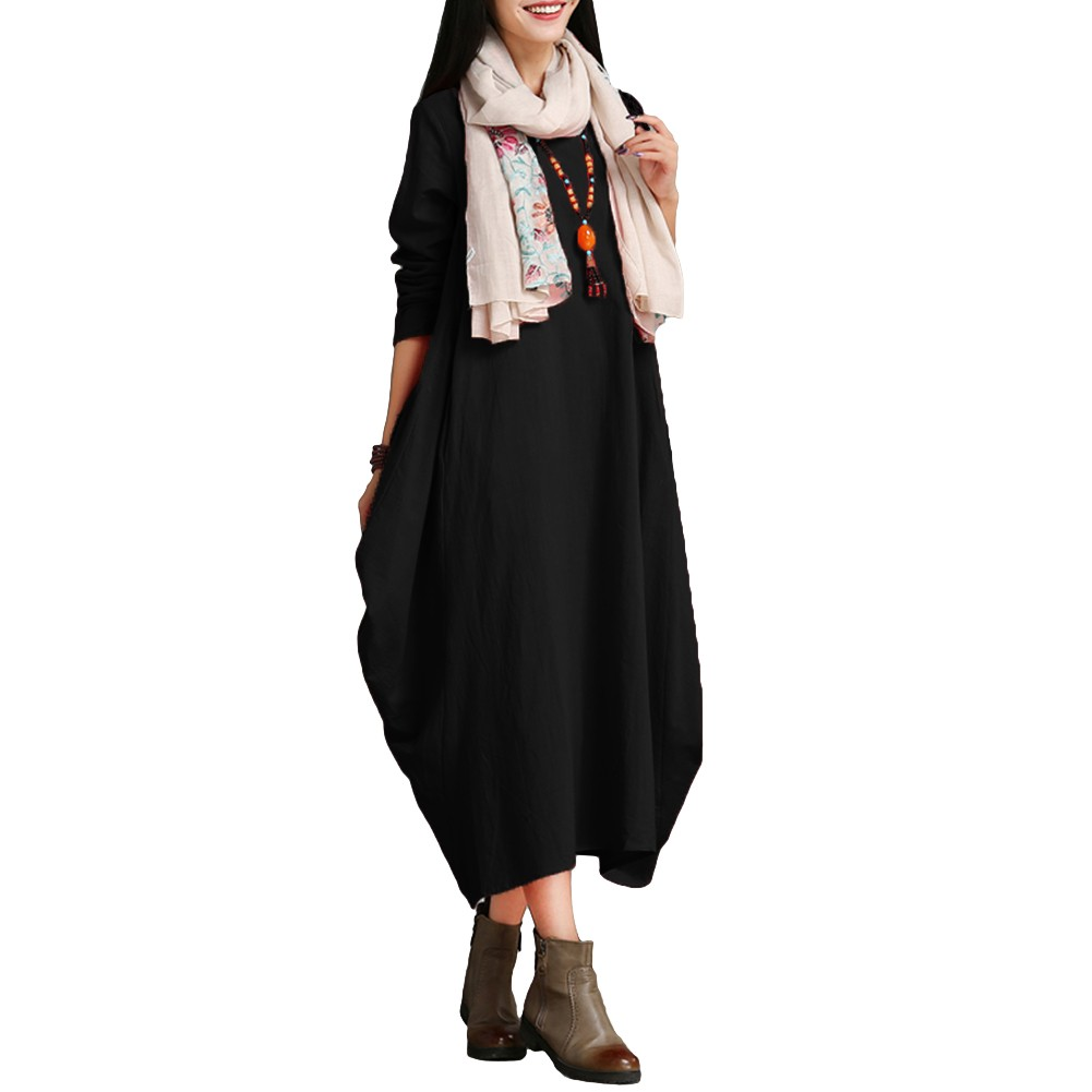 bad055a1bfc Ethnic Women Dress Solid Cotton Pocket Round Neck 3 4 Sleeve Loose Baggy  Vintage Maxi Gown Robe One-Piece black xxl Online Shopping