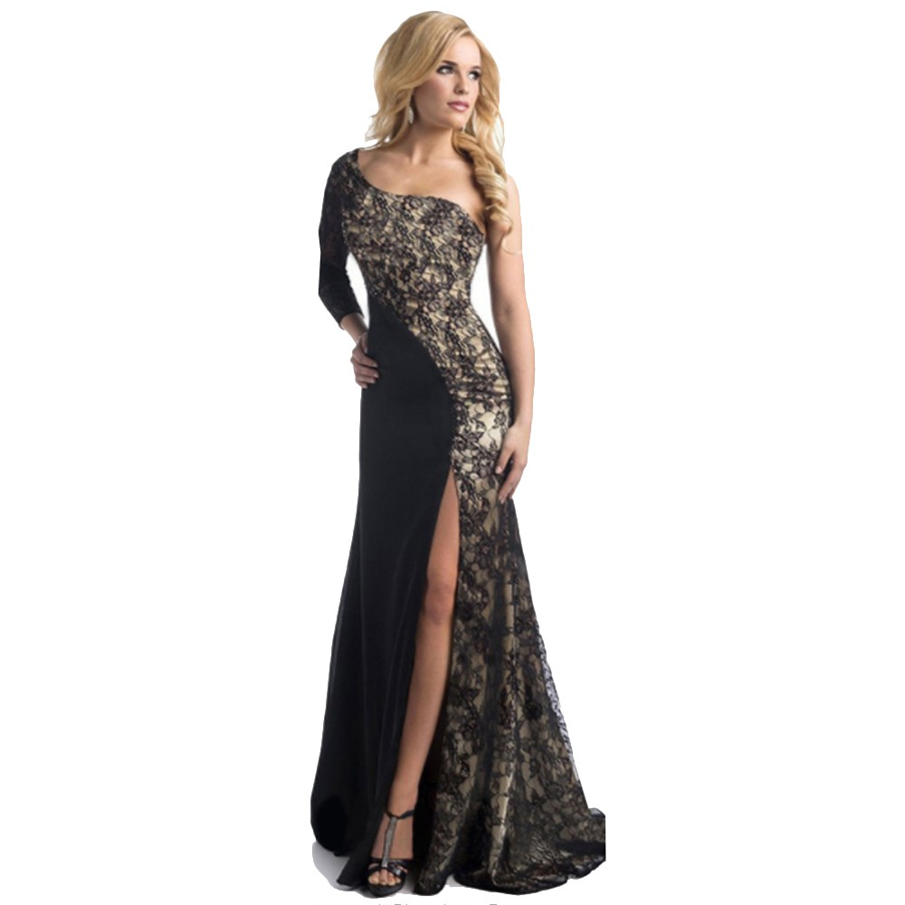 Elegant Women Lady Lace Cocktail Dress Sexy One Shoulder Prom ...
