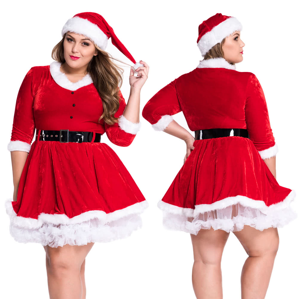 0dabb09a4fb Sexy Women Plus Size Velvet Santa Dress Costume V Neck Marabou Trim With  Belt + Hat Three Pieces Performance Uniform Red red Online Shopping