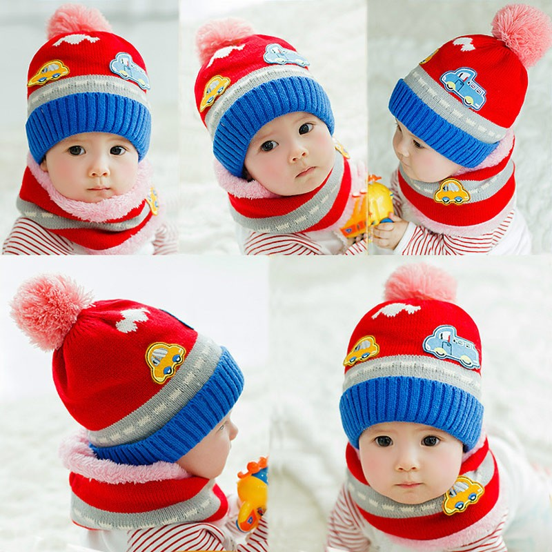 ef8d8ecc New Cute Baby Girl Boy Knitted Hat Scarf Set Car Pattern Fleece Warm Cap  Neck Warmer Two-Piece Set red Online Shopping   Tomtop