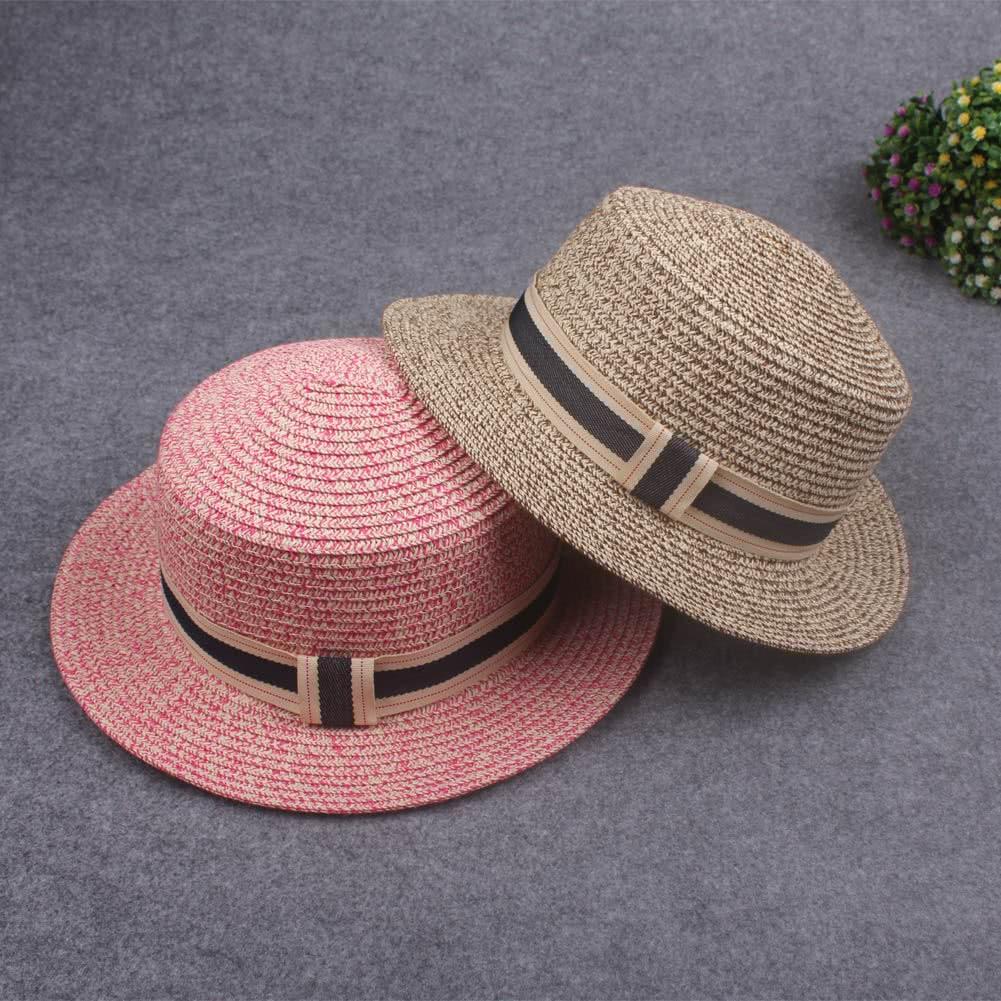 876cf6c9 New Fashion Women Straw Hat Ribbon Trim Wide Brim Summer Sun Beach Holiday  Cap Fedora Trilby Hat brown Online Shopping | Tomtop