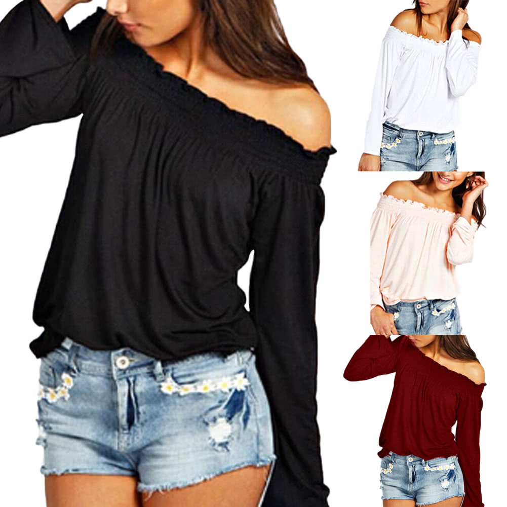 0b5949dab9d95d New Fashion Women Blouse Elastic Off Shoulder Long Sleeve Solid Color  Casual T-Shirt Tops Tee white s Online Shopping