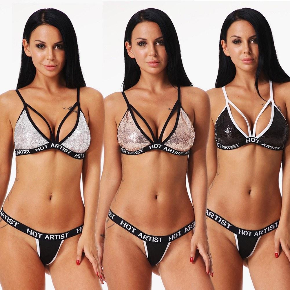 Women Two Piece Bralette Set Shiny Sequin Triangle Wireless Unpadded Bandage Strappy Erotic Underwear Suit