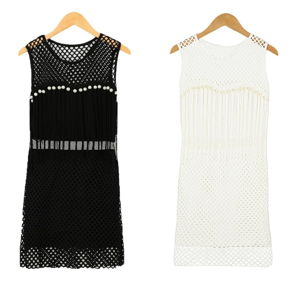 2607d0744233 Donne sexy Mini abito maglia Patchwork cava fuori perle senza maniche  matita vestito Bodycon Party Clubwear nero bianco bianco taglia unica -  Tomtop.com