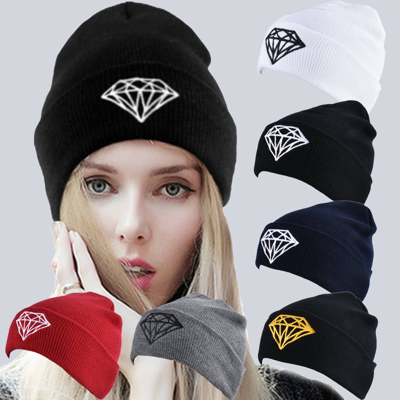 0f42ea63b13 Unisex Women Men Knitted Hat Diamond Ribbed Slouchy Baggy Casual Sport Warm  Winter Kullies Beanies