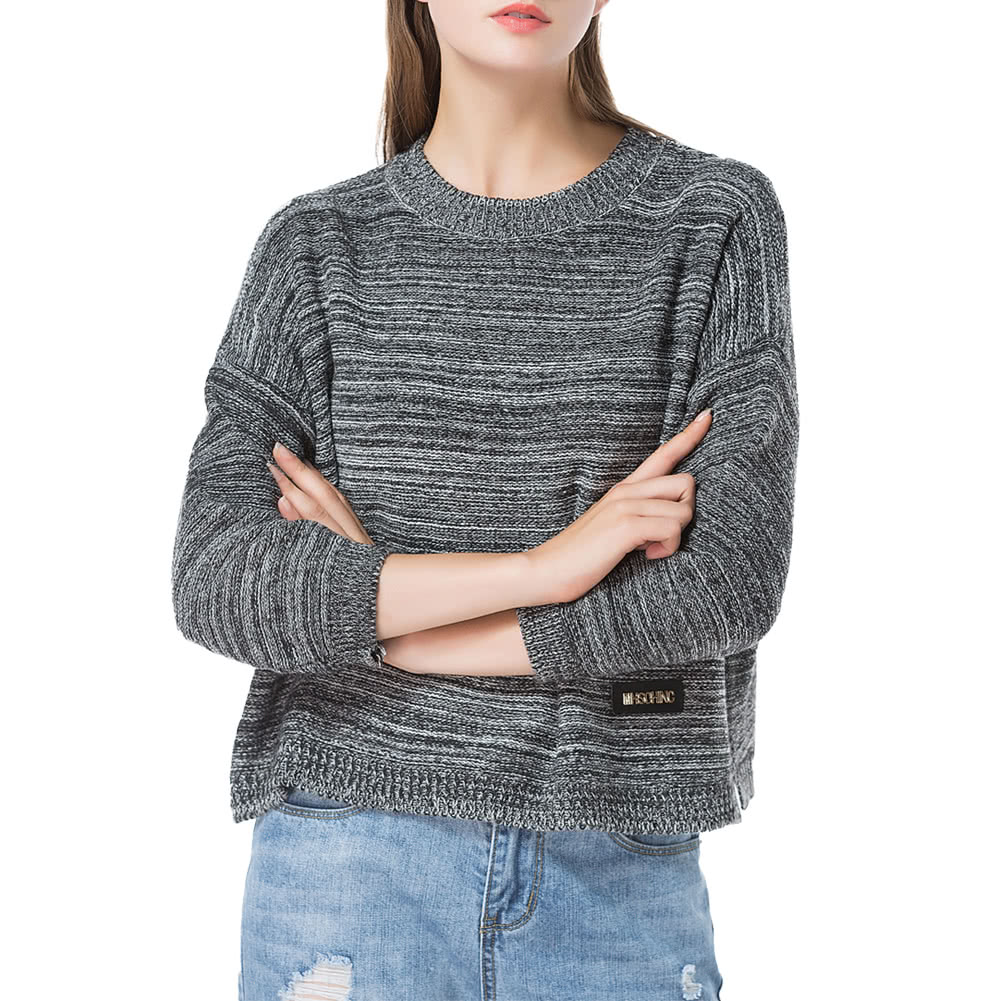 Pull Over Onto Shoulder : Mulheres loose tricotado pull over striped sweater dropped