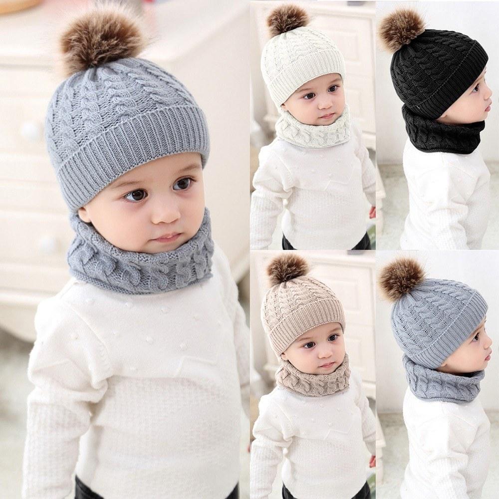 2pcs Toddler Kids Hats Baby Circle Loop Scarf Neck Warmer grey ... 07373135d449