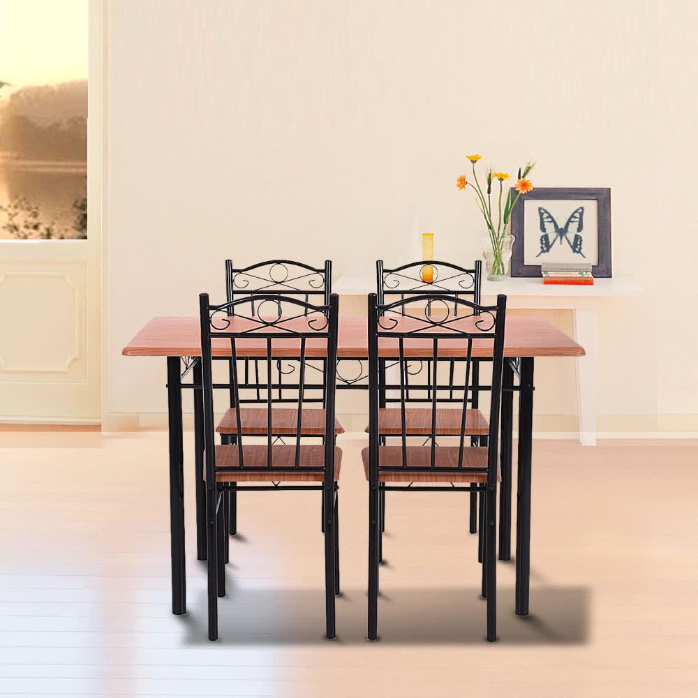 ikayaa 5pcs modern dining table chairs set wood steel frame