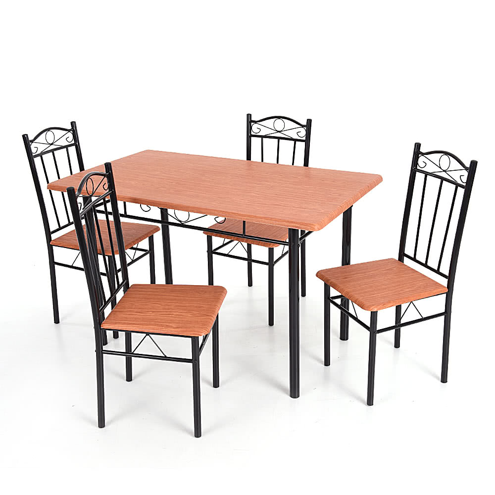 Ikayaa pcs modern dining table chairs set wood steel