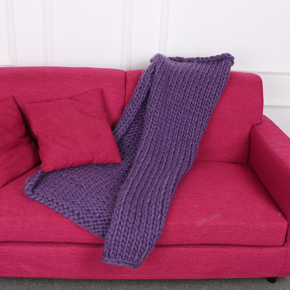 Super Chunky Hand Knit Throw Blanket Crochet Warm Thick
