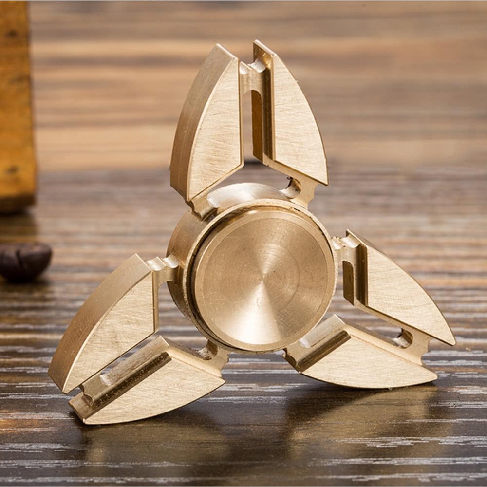 Full brass tri edc metal hand finger fidget spinner y for Tri steel home plans