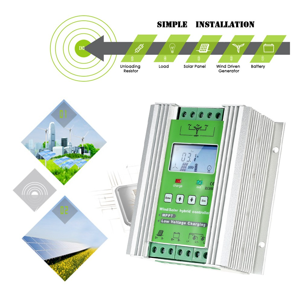 Lcd Wind Solar Hybrid Charge Controller Mppt Boost 12 24v Waterproof Led Street Light Pwm Circuit Auto Lighting Lamp Charging 300w