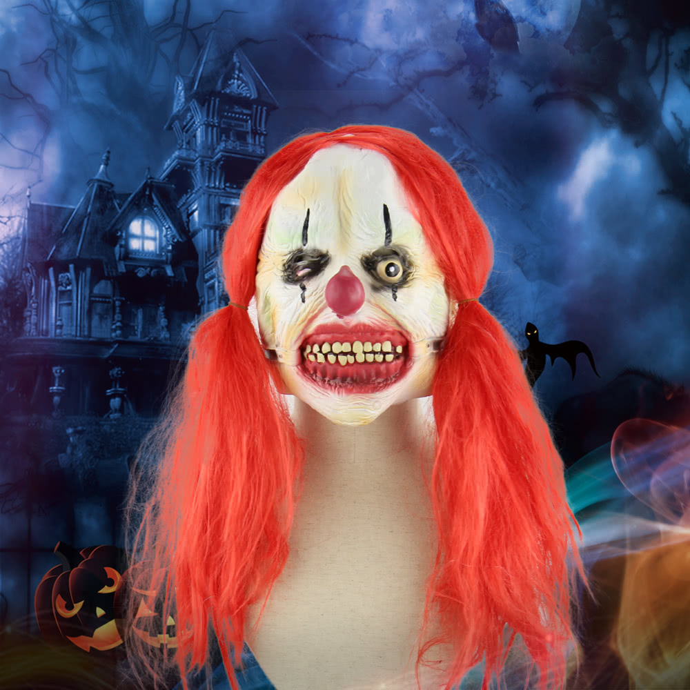 latex full face scary toothy clown mask with red twin tail hair elastic tape for halloween masquerade costume sales online tomtop