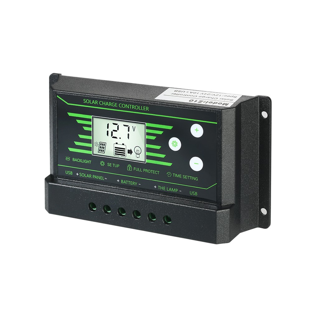 10a 12v 24v Auto Lcd Solar Charge Controller Load Battery Regulator Dual Usb 5v Output Overload Protection Sales Online 1 Tomtop