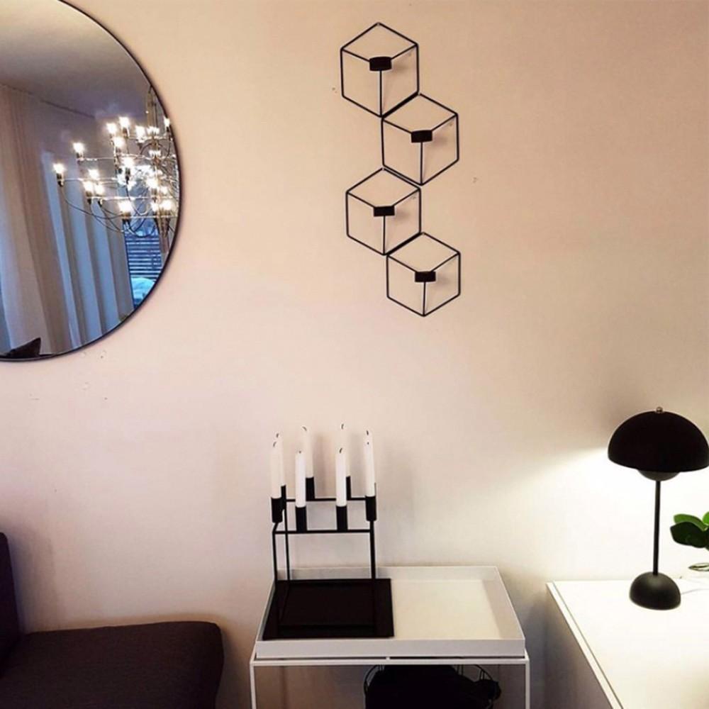 4 pezzi nordici stile 3d geometrica candeliere in metallo - Portacandele da parete ...