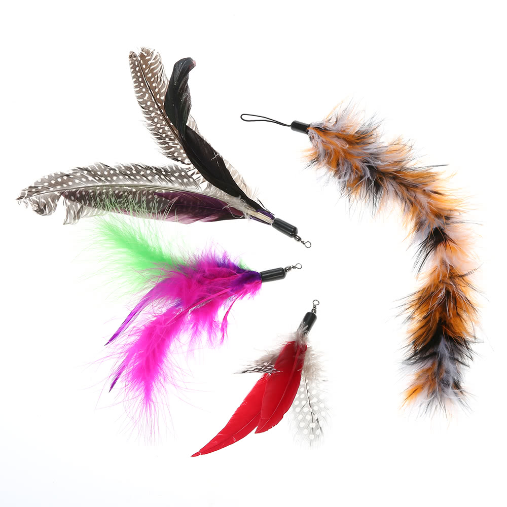 5pcs luxury dancer interactive retractable feather for Retractable cat toy