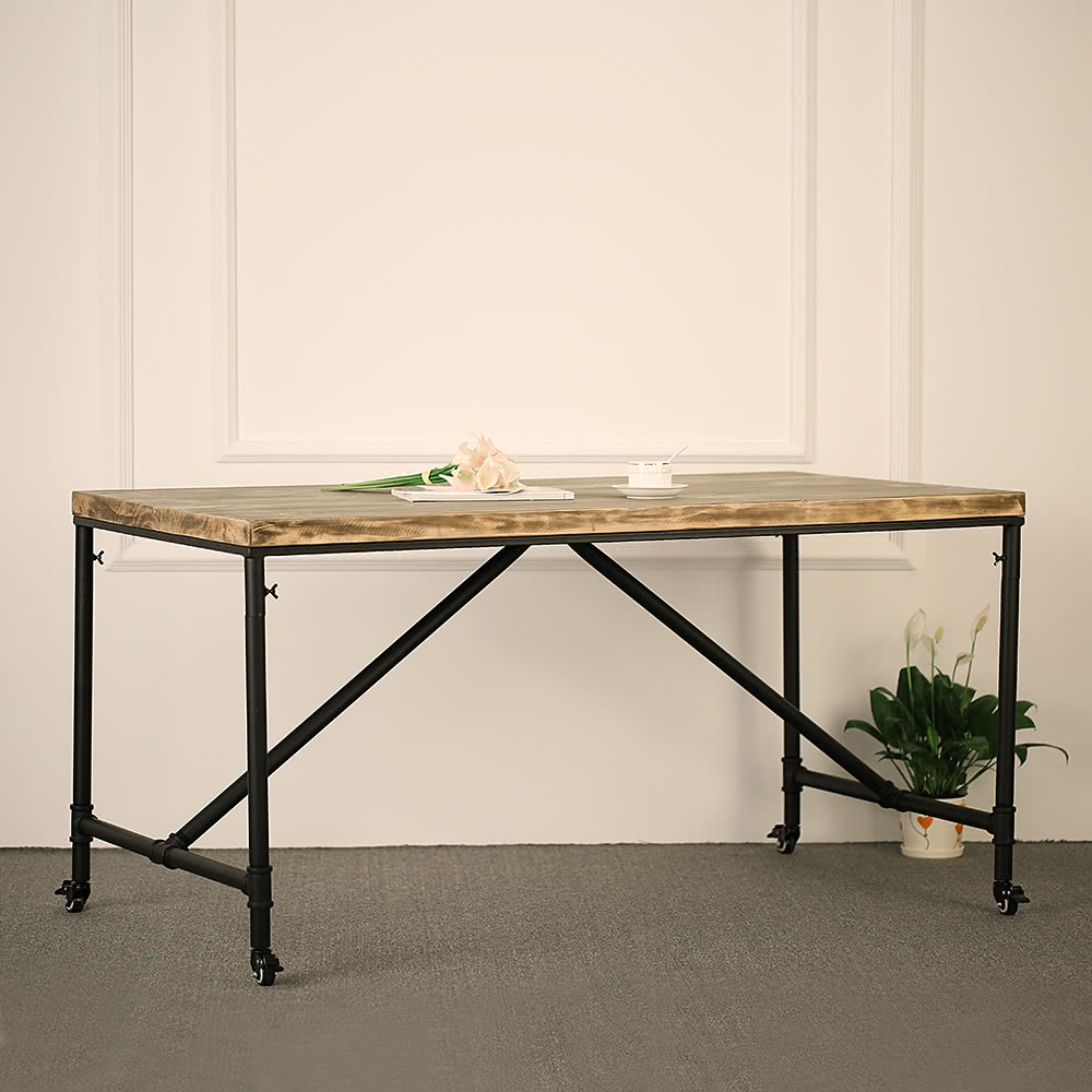 Ikayaa Antique Natural Pine Wood Top Kitchen Dining Breakfast Table Style Metal Hall Meeting Studio Desk 59 31 4 30 1 L W H