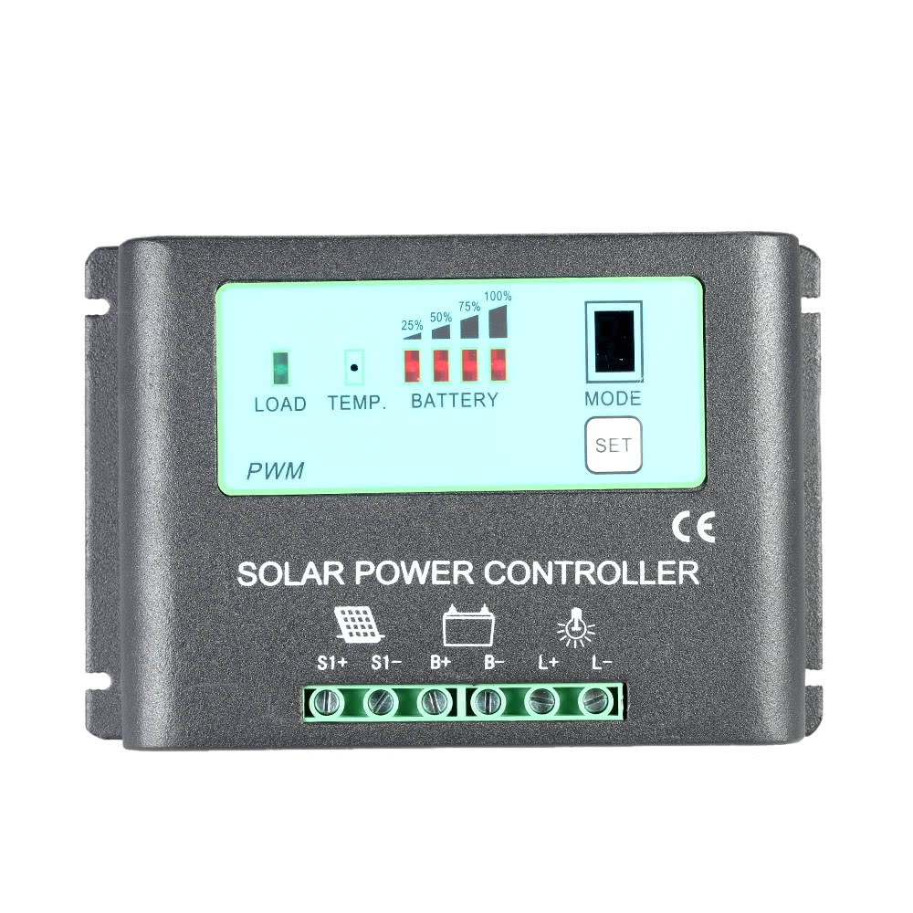 Intelligent 20a 12v 24v Solar Charge Controller Metal Case Auto Id Pwm Mode 6a Small Control Ce Regulator Time Power Panel Battery Lamp Light Overload