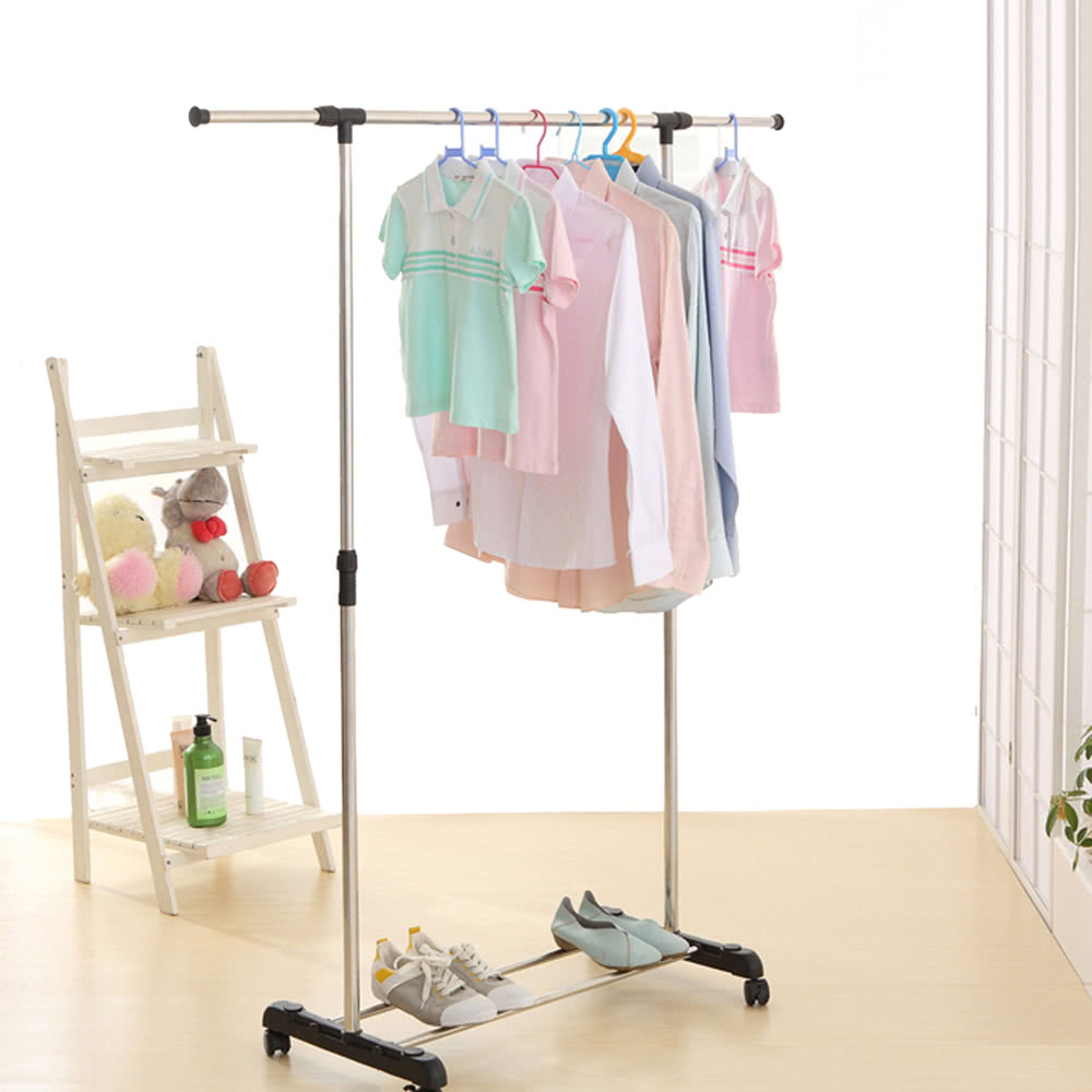 Ikayaa metal height adjustable coat clothes garment hanging rack width extendable heavy duty clothes display organizer shoes rack sales online tomtop