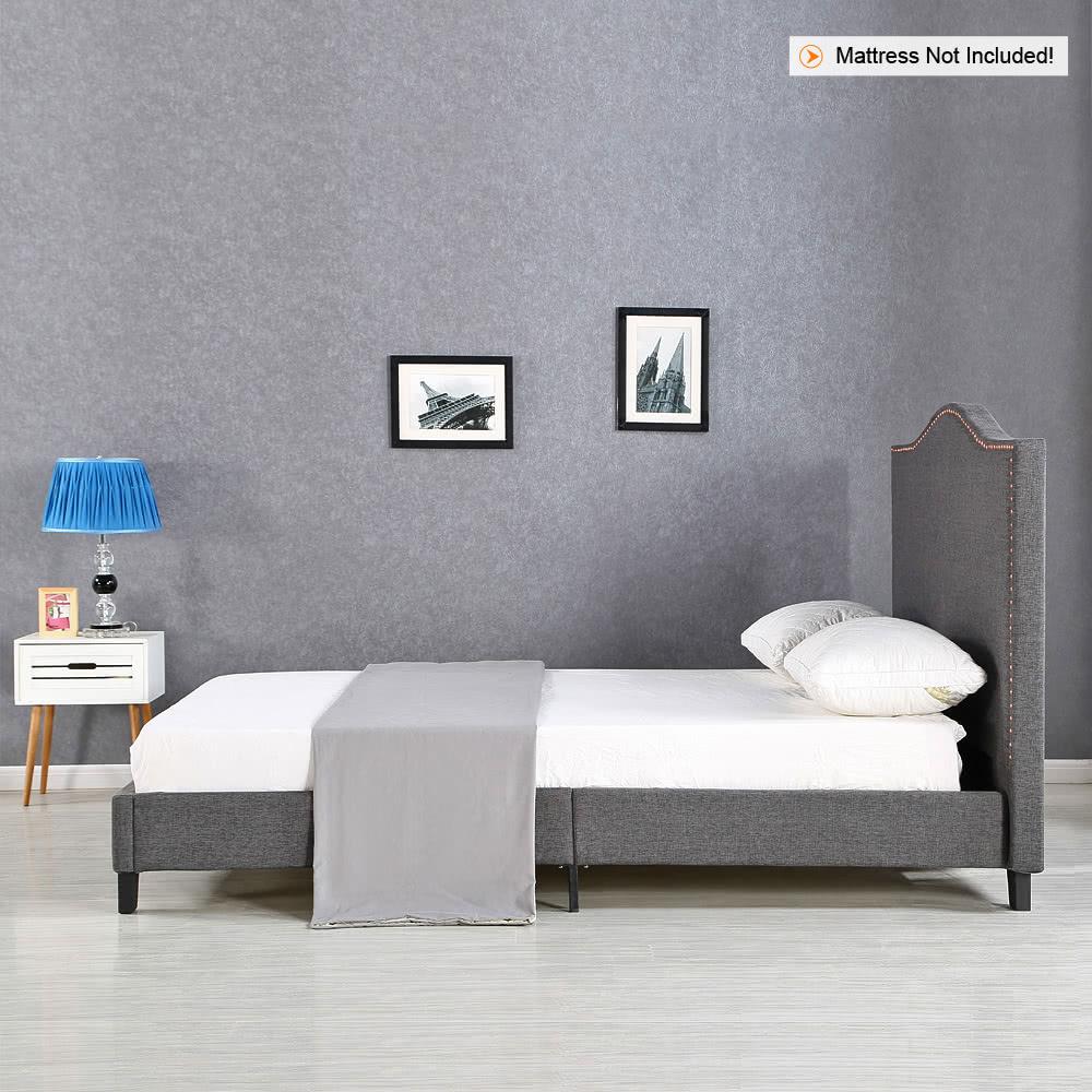 Ikayaa antico re sized trapuntato biancheria wingback telaio del letto di legno con stecche - Telaio del letto ...