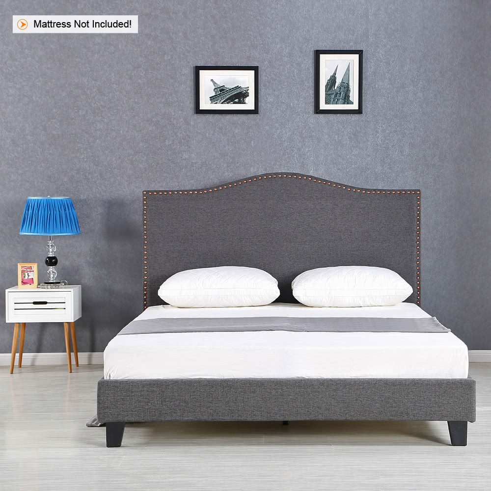 ikayaa antique full sized tufted linen wingback bed frame with wood slats sponge padded upholstered platform bed frames grey 200kg capacity for 137190 - Wingback Bed Frame