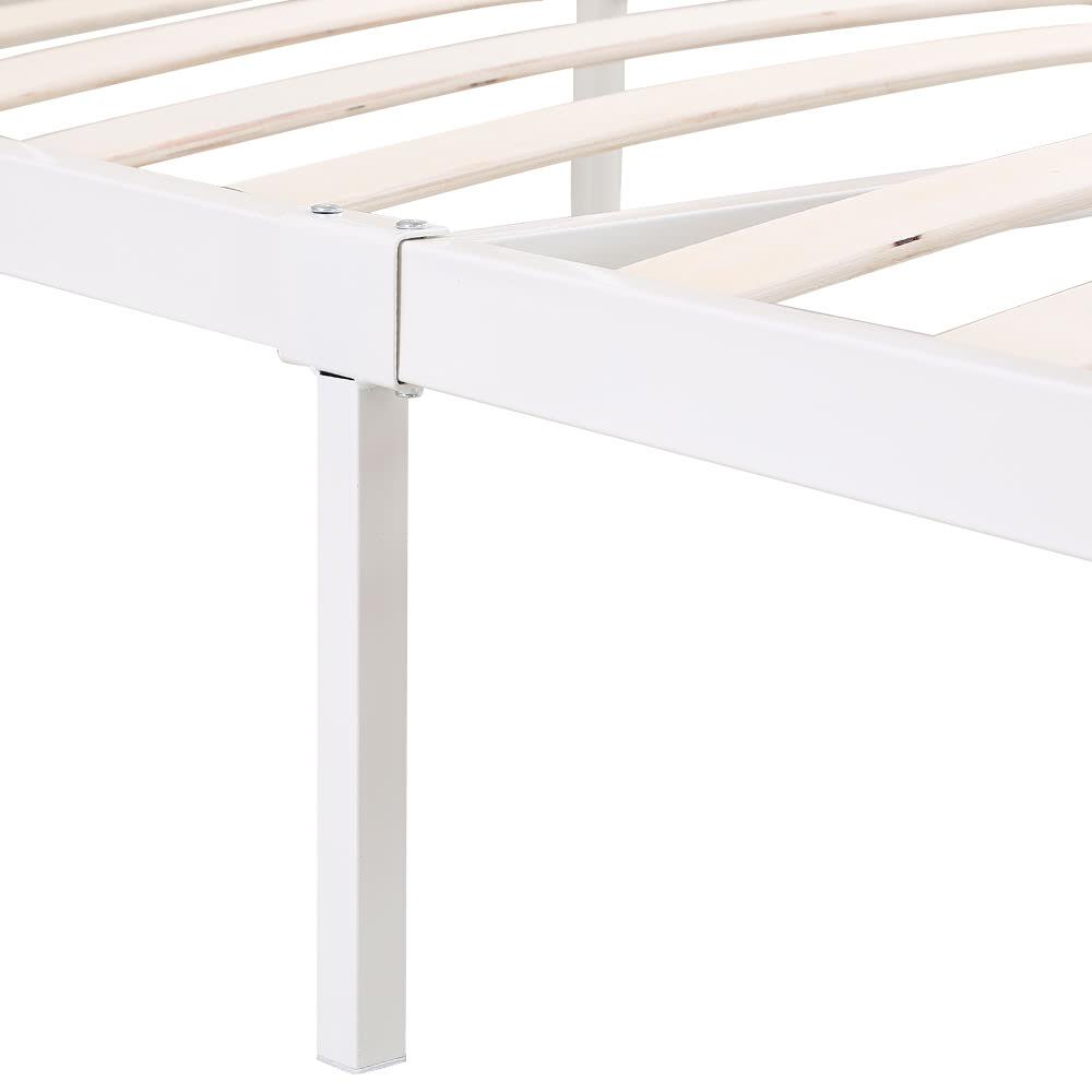 Ikayaa piattaforma metallica contemporanea telaio del letto con il legno stecche per double - Telaio del letto ...