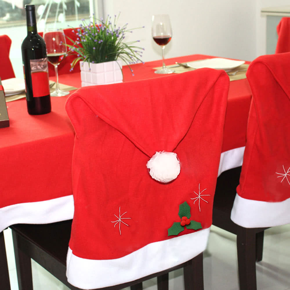 Christmas Chair Back Covers.Cute Santa Claus Red Hat Christmas Chair Back Cover Xmas Kitchen Dining Chair Covers Christmas Decoration Supply