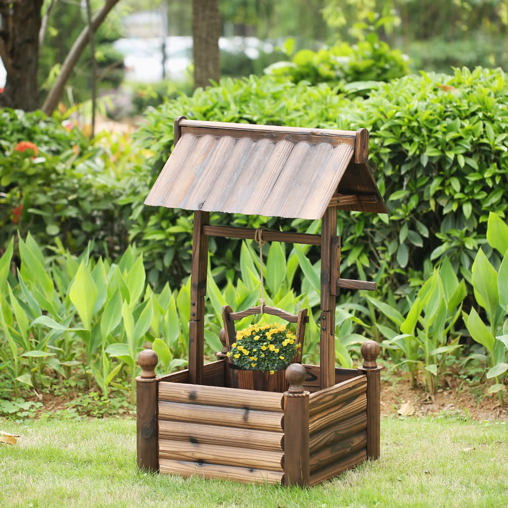 ikayaa wooden wishing well planter w bucket outdoor home decoration fir wood raised garden bed. Black Bedroom Furniture Sets. Home Design Ideas