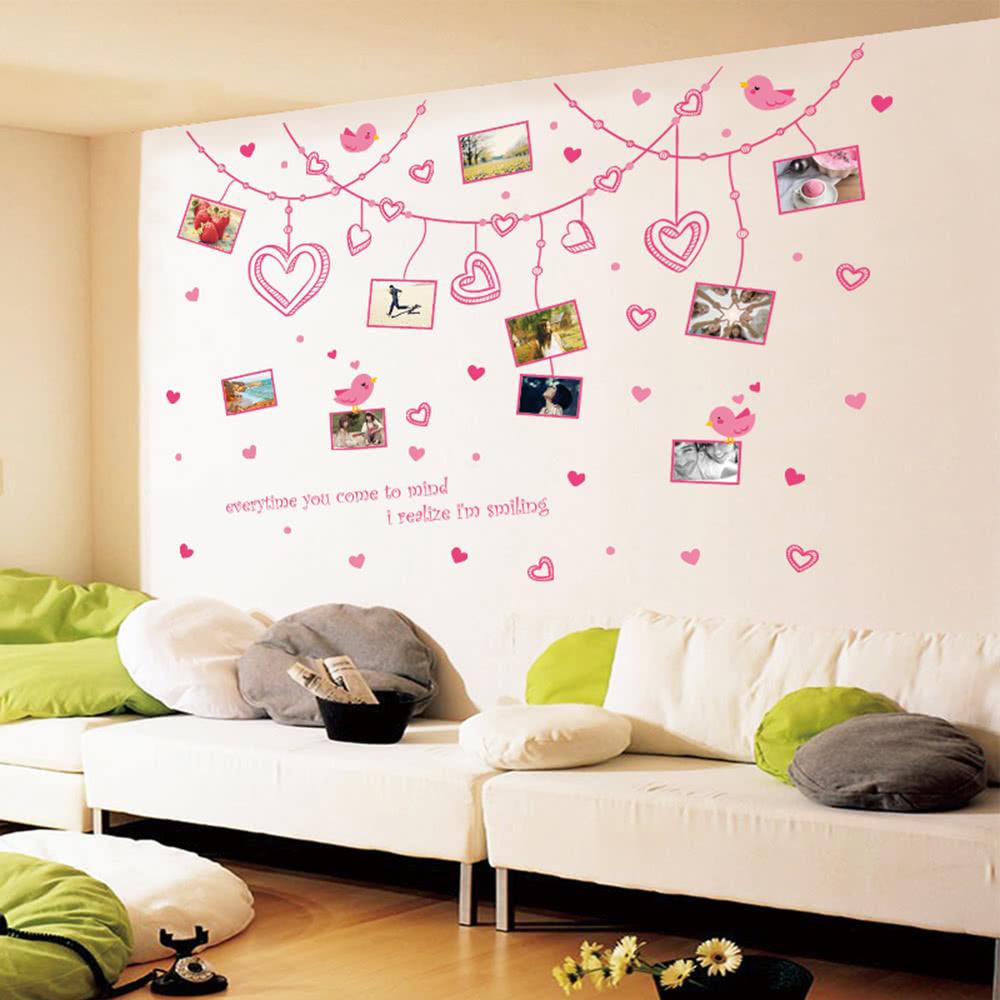 Romantische Herzen U Foto Rahmen Wand Aufkleber