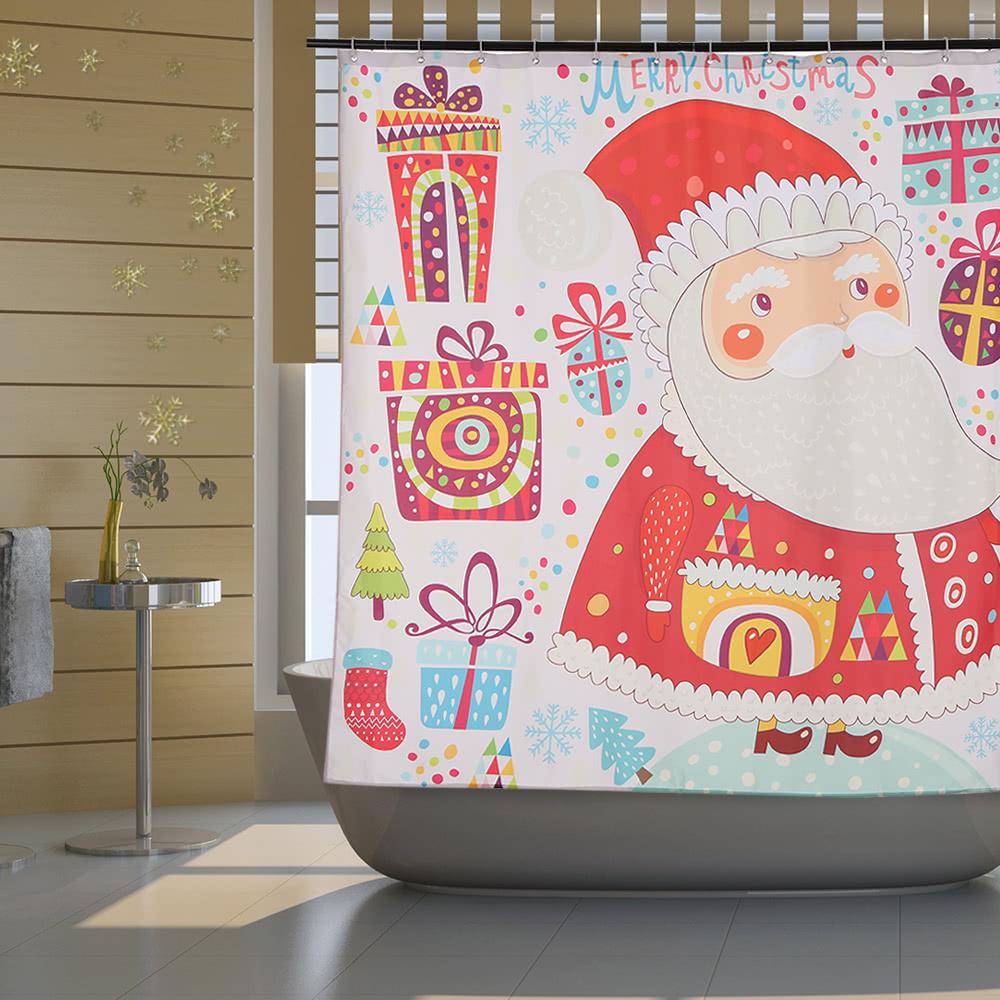 72 Christmas Santa Bathroom Curtain Polyester Waterproof Mildewproof Shower With 12pcs Ring Hooks Decorations Sales Online 1