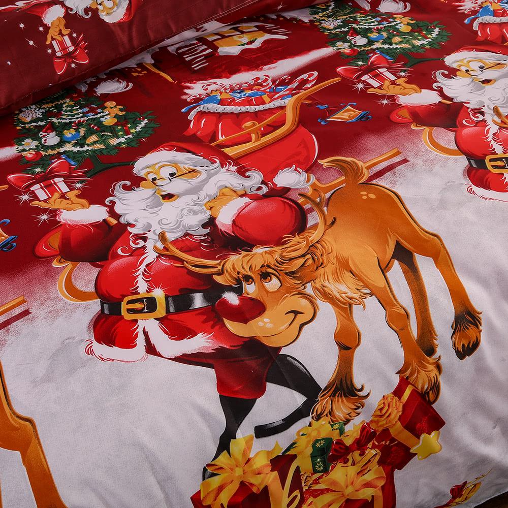 weihnachten santa bettw sche set polyester 3d gedruckt. Black Bedroom Furniture Sets. Home Design Ideas
